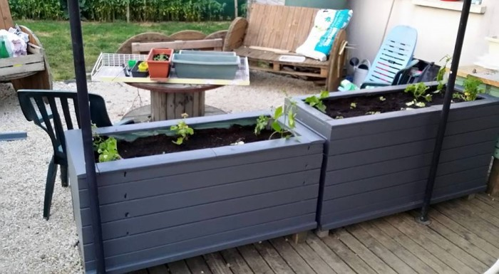 DIY Shutters Recycled to Flower Tubs