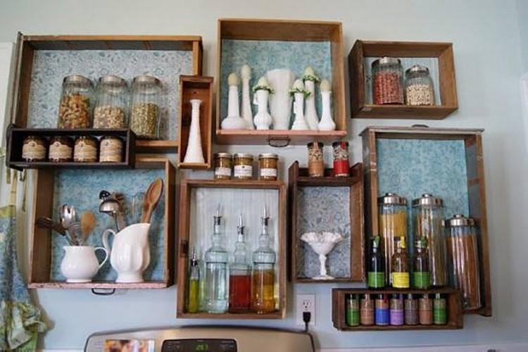 Dresser Drawers as Hanging Shelves