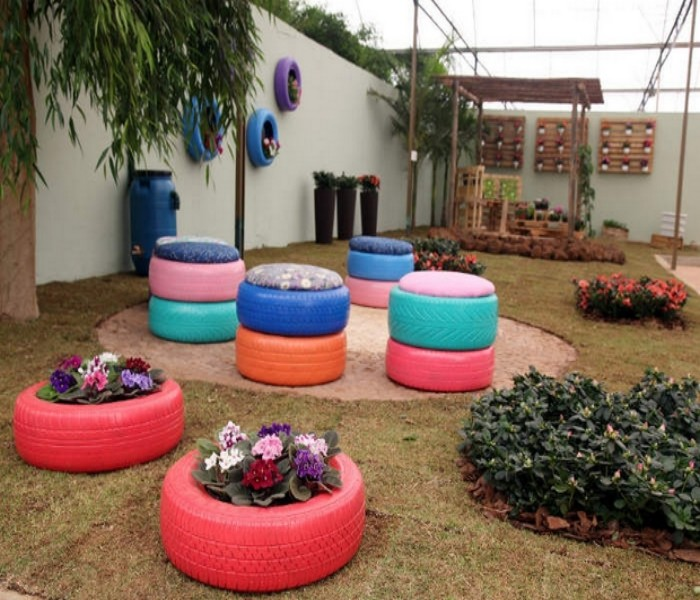 Garden Decor with Used Tyres