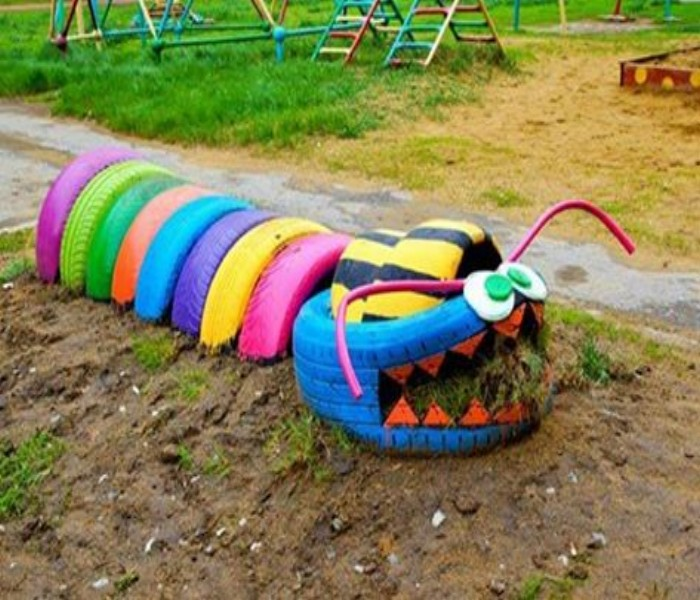 Ideas to Decorate the Garden Using Used Tyre