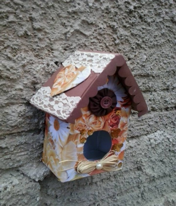 Milk Carton Recycled to Birds House