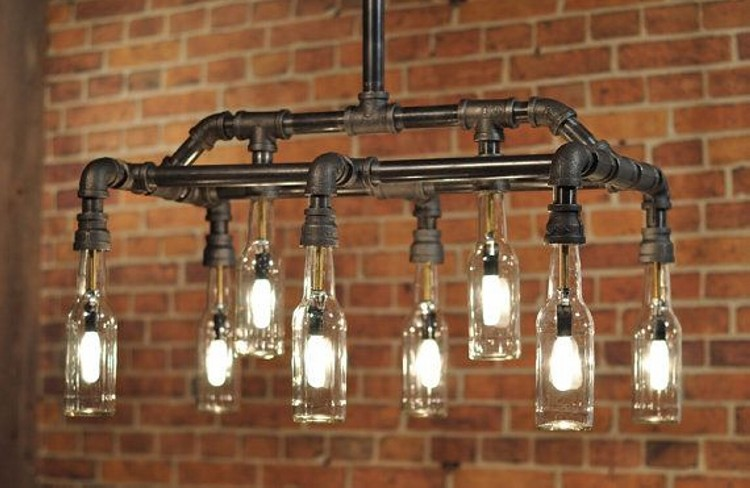 Plumbing Pipe Beer Bottle Light Fixture