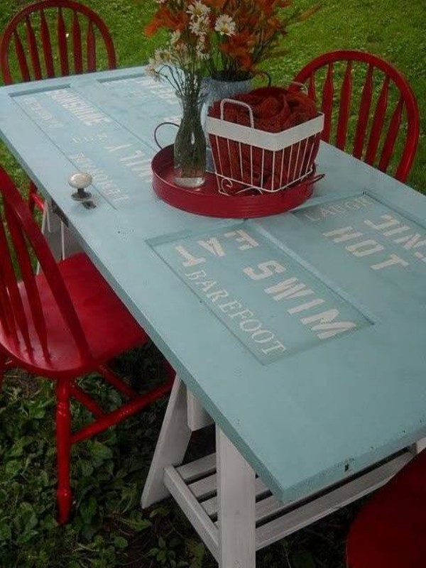 Recycle Old Wooden Door to Table