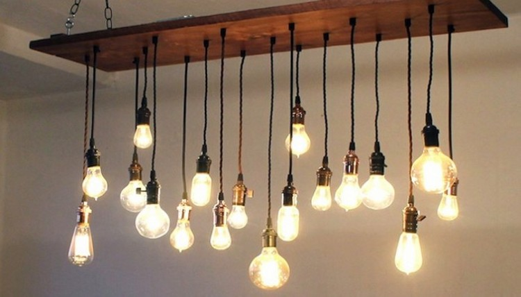 Upcycled Bulb Chandeliers
