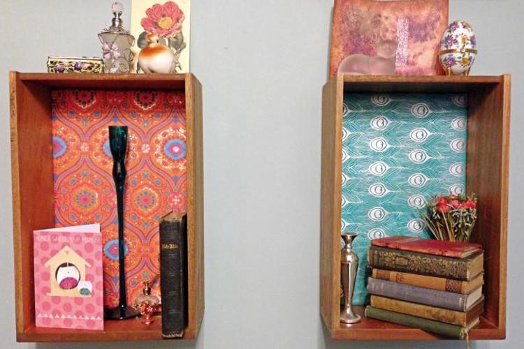 Upcycled drawer shelves