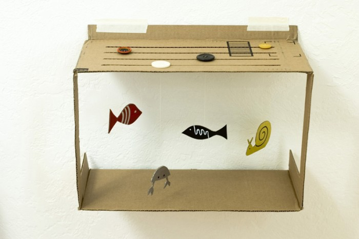 Wall Hanging Box Aquarium With Cardboard Crafts