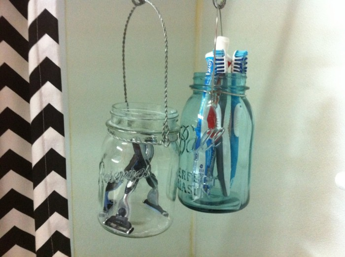 mason jars toothbrush holder