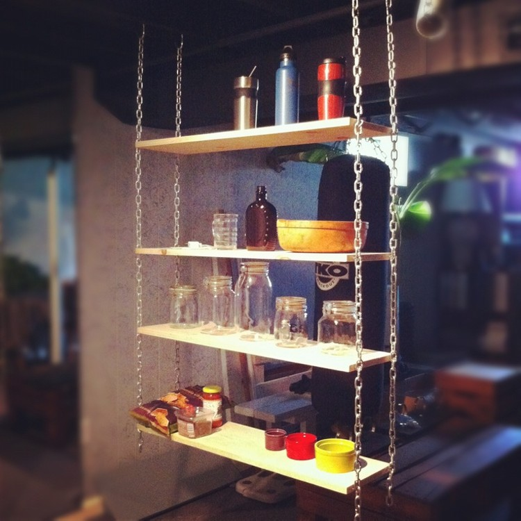 pallet chain hanging shelves
