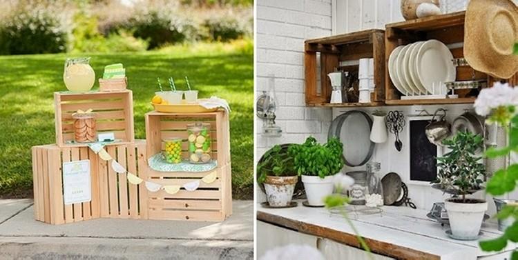 wooden crates kitchen shelves