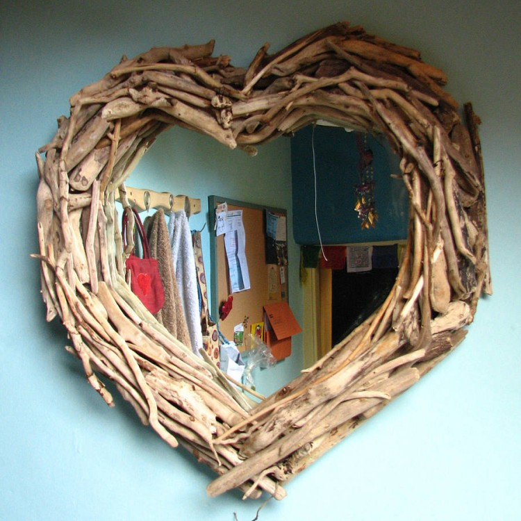 Driftwood Mirror Heart Shaped