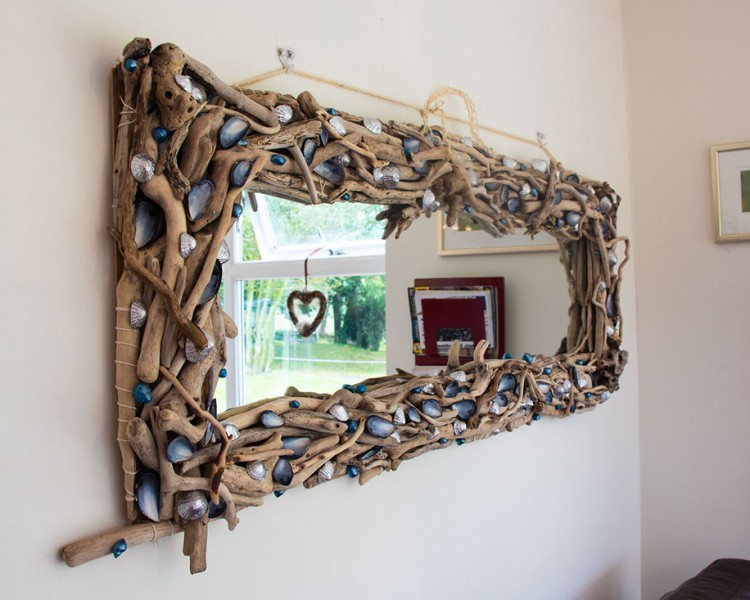 Driftwood Mirror at Wall