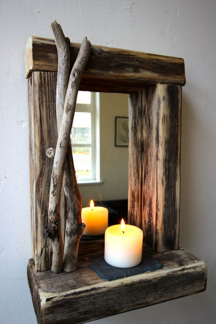 Driftwood Mirror with Candle