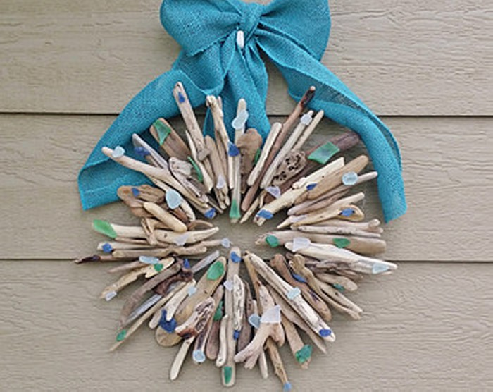 Driftwood Wreath with Seaglass