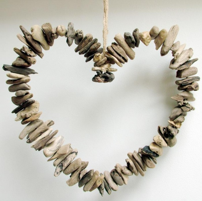 Hanging Driftwood Heart Wreath