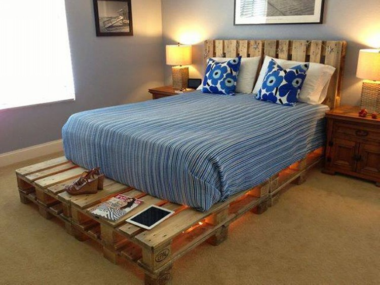 pallets made beds lighting ideas upcycle art. Black Bedroom Furniture Sets. Home Design Ideas