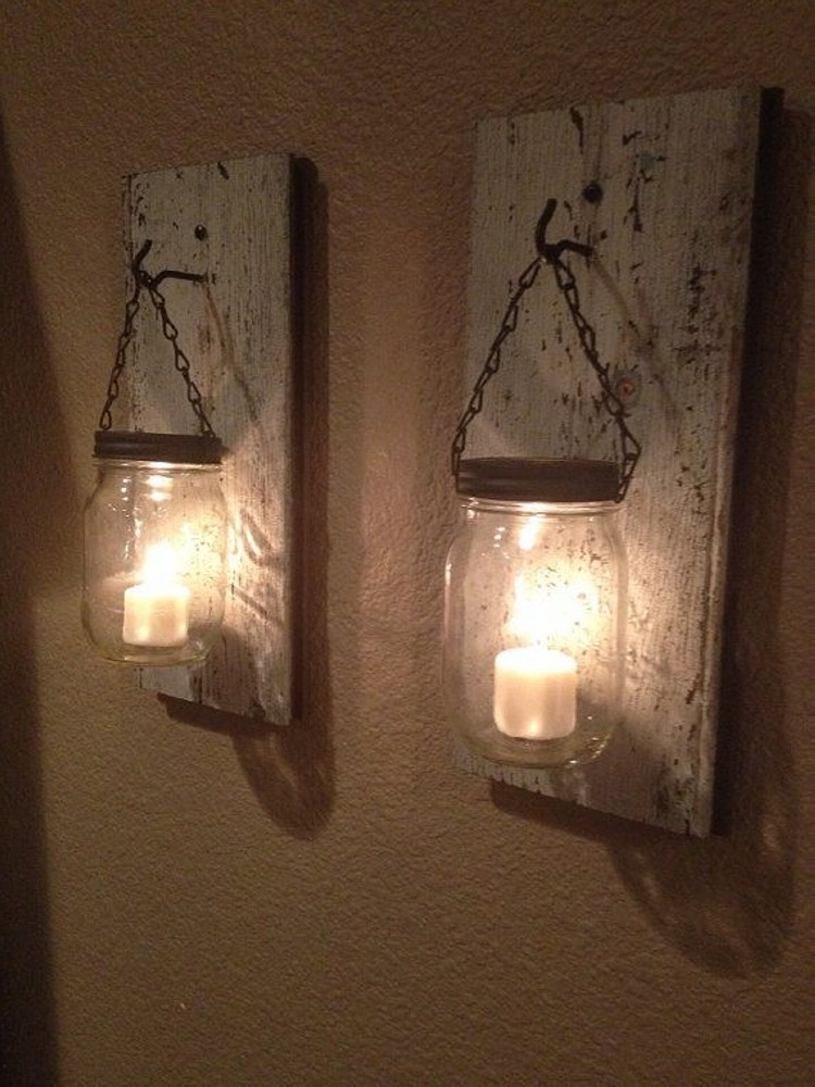 Mason Jars Candle with Pallets Wood