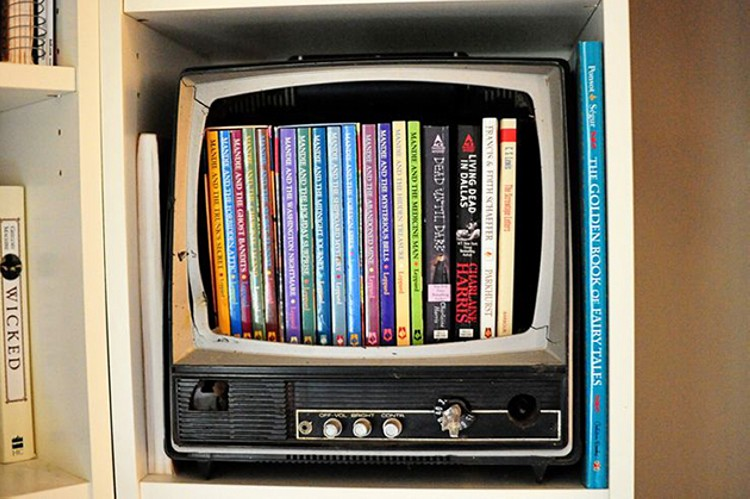 Old TV Recycled Bookshelves