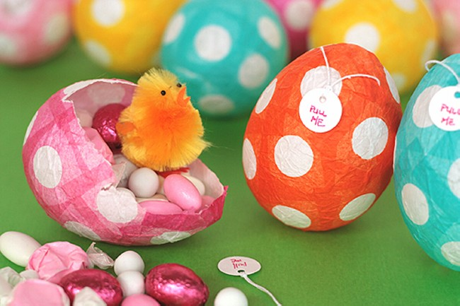 Paper Mache Treat Filled Eggs