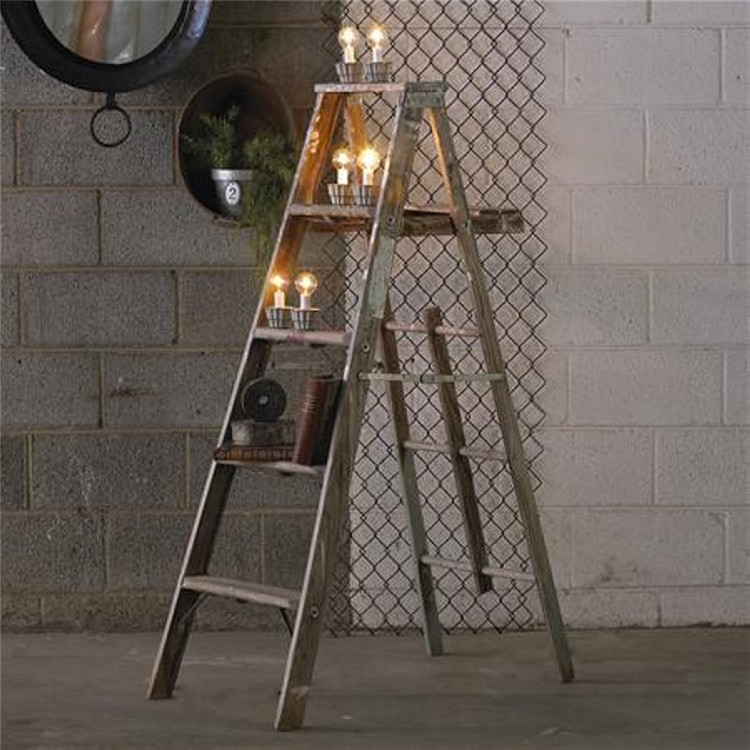 Re-Purposed Ladders Decor