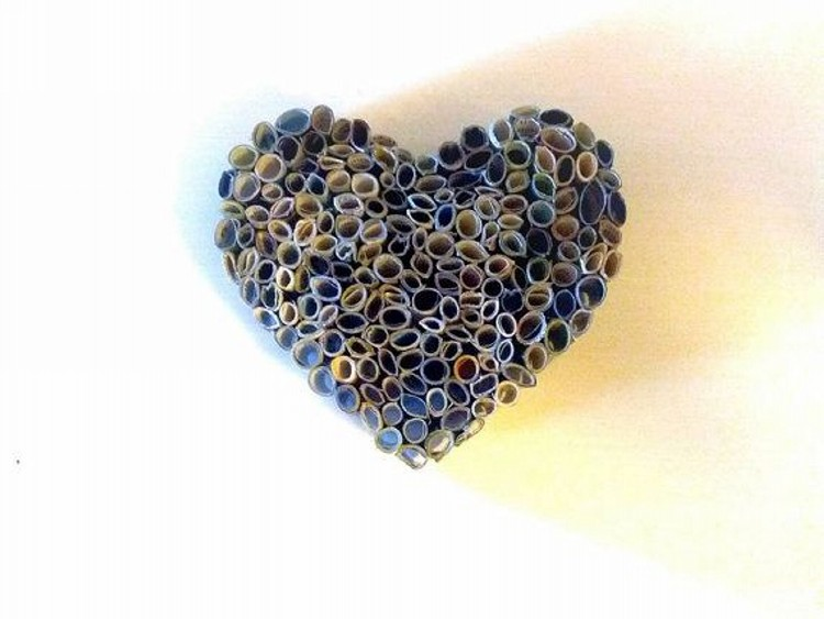 Recycled Magazine Heart Sculpture