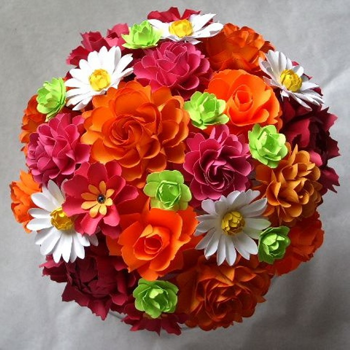 Tangerine Paper Flower Bouquet