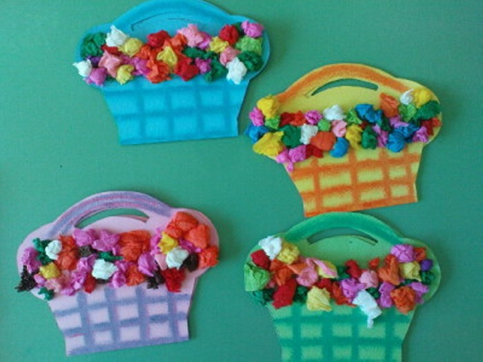 Tissue Paper Flower Baskets