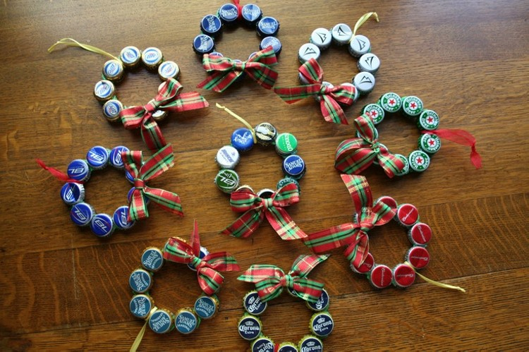 Upcycled Bottle Cap Christmas Ornament