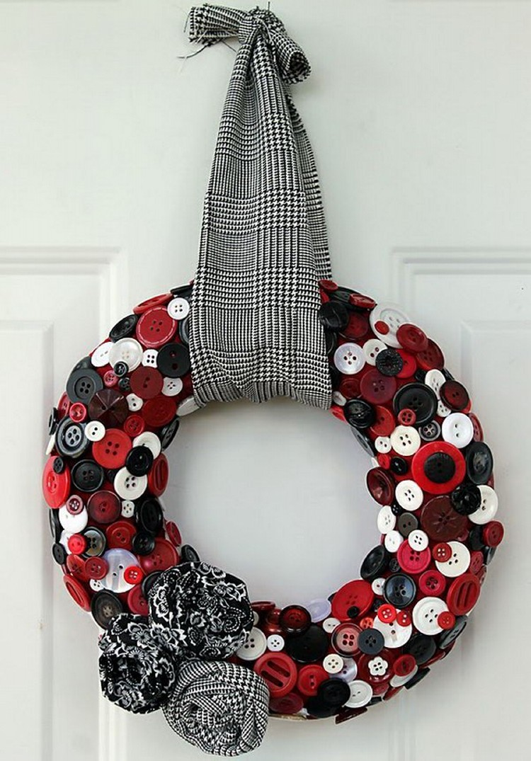 Upcycled Button and Fabrics Wreath