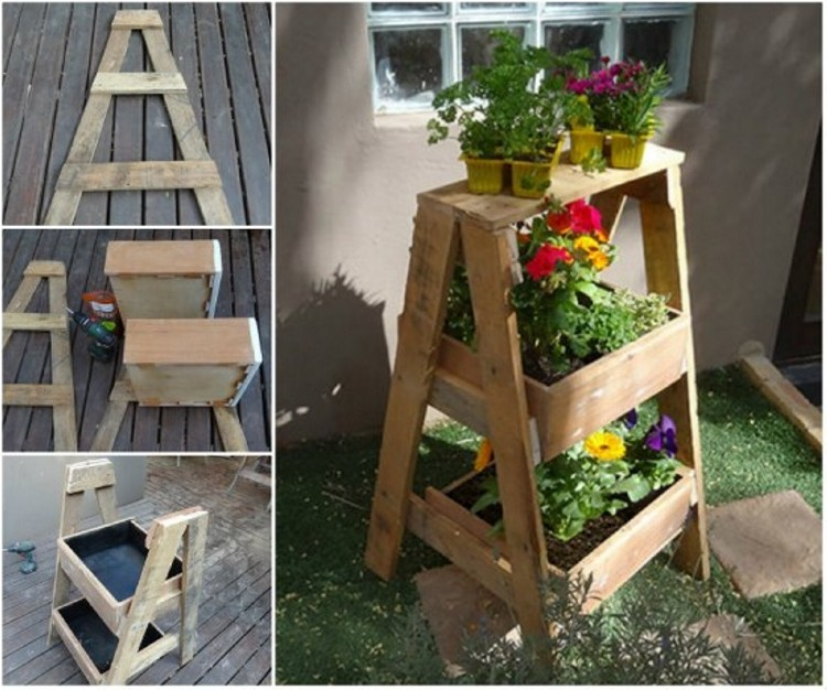 Upcycled Ladder Drawer Planter