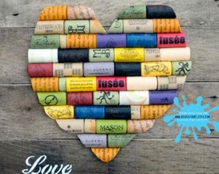 Wine Corks Heart Upcycled