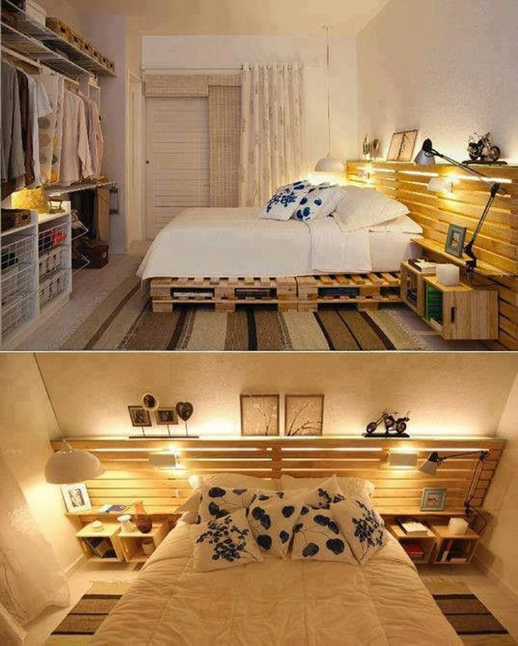 Pallets Made Beds Lighting Ideas