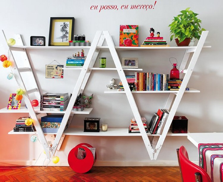 ladders upcycled bookshelf