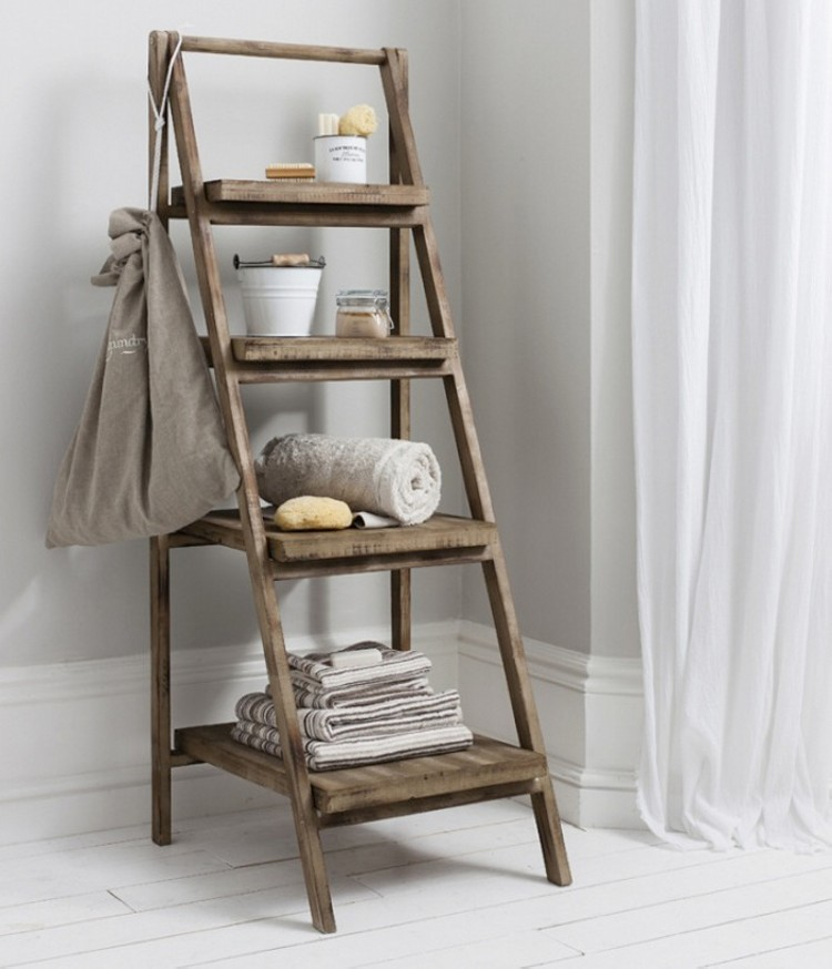 recycled ladder shelf