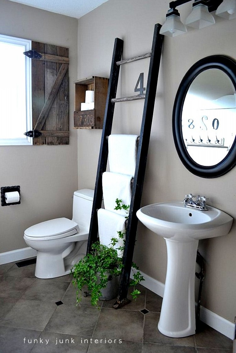 recycled ladder towel holder