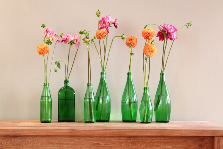 upcycled glass bottles planting deocr