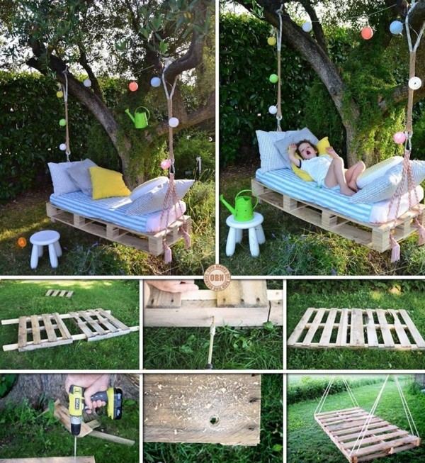 DIY Pallet Wood Swing Bed