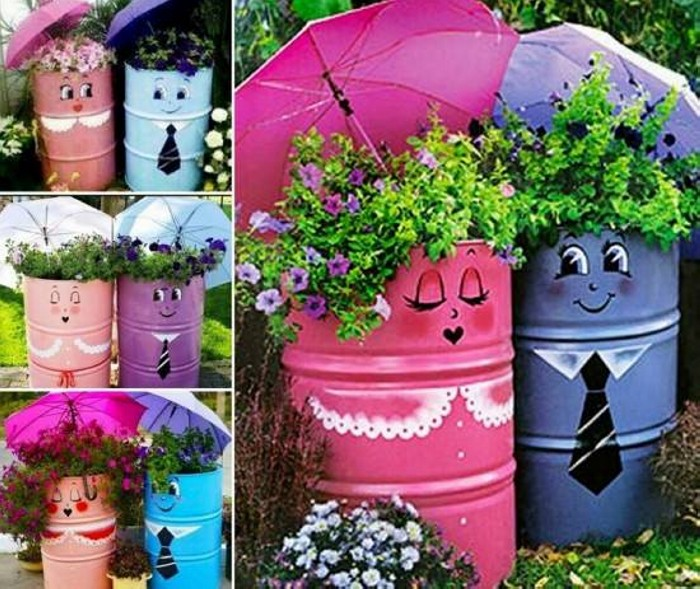 Garden Metal Drum Art Ideas