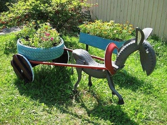 Garden Used Tyre Art