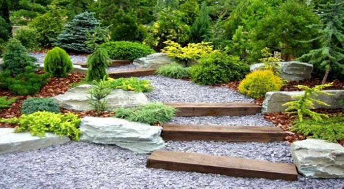 Garden Walkway with Wooden Blocks
