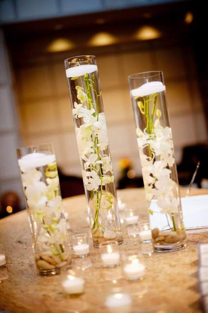Glass Candle Centerpieces
