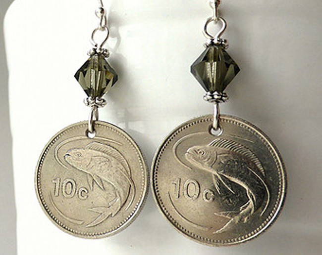 Maltese coin earrings