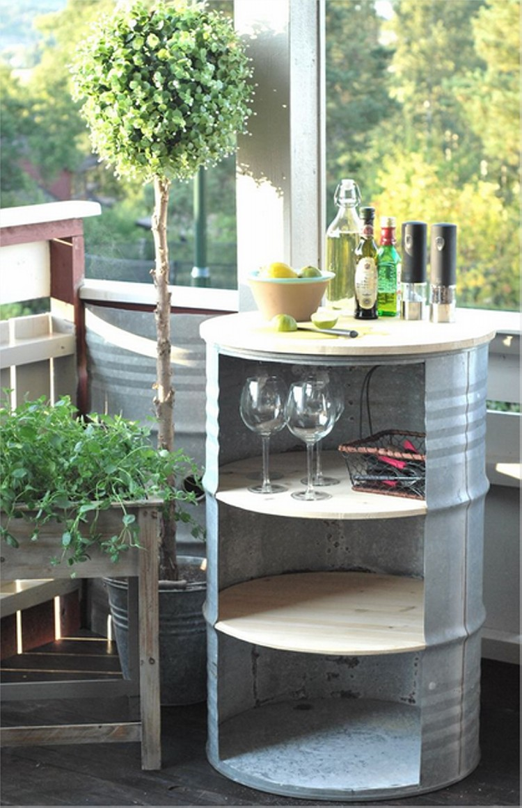 Inspiring ideas for the reuse of metal drums upcycle art for Repurposed drum shelf