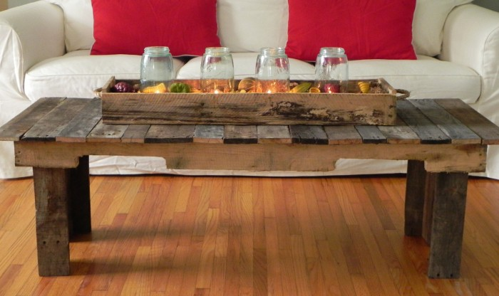 Wood Pallet Coffee Table ~ Pallet table ideas upcycle art