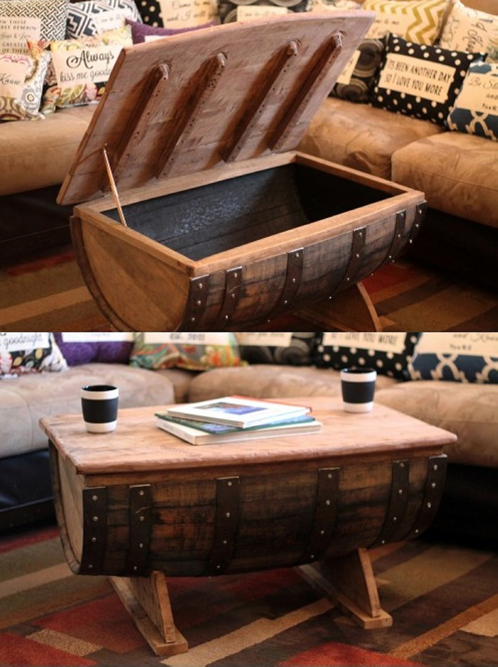 Recycled Wood Barrel Table Cum Chest