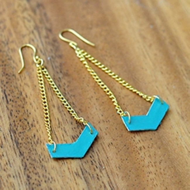 Upcycled Chevron Earrings