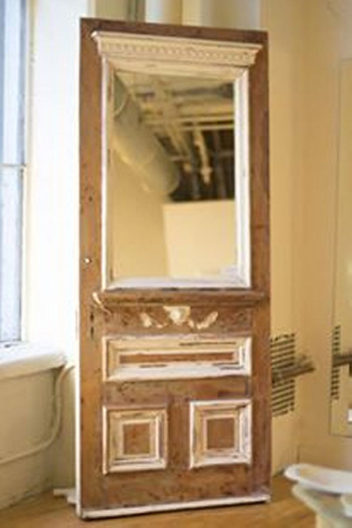 Upcycled Wood Door Mirror