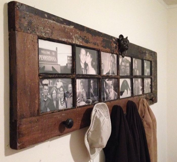 Upcycled Wood Door Wall Hanging Shelf