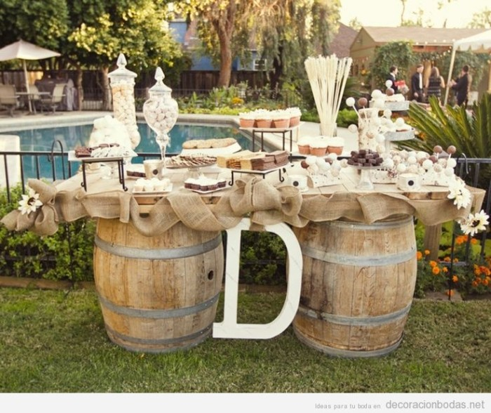 Wooden Barrel Garden Decor