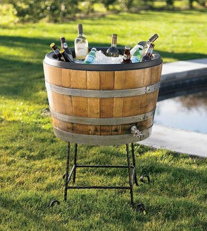 Wooden Barrel Ice Chest