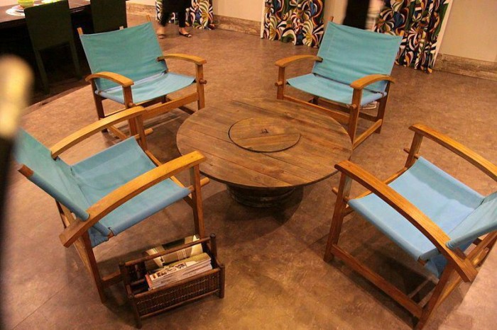 Wooden Cable Reel Coffee Table